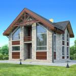Проект дома из пеноблока № 54-17