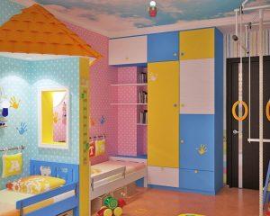 Оригинальный дизайн детской комнаты для двоих детей